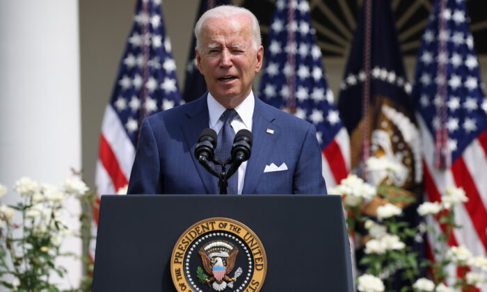 President Joe Biden delivers remarks during an event in the Rose Garden of the White House in Washington, DC on July 26, 2021. (Anna Moneymaker/Getty Images)