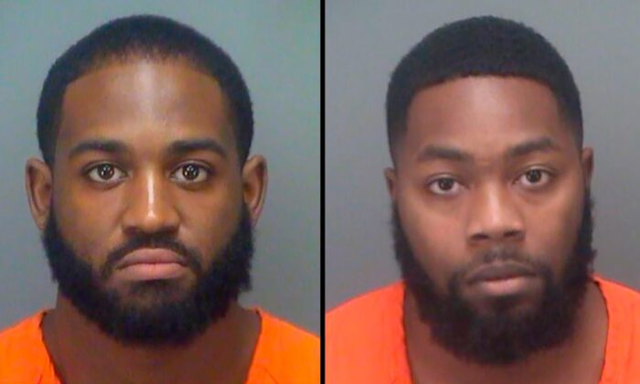 These undated booking photos provided by Pinellas County (Florida) Sheriff's Office show Keondre Quamar Fields on the left and Donterio Rashad Fowler. (Pinellas County Sheriff's Office via AP)