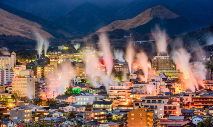 Steam rises from hot spring bathhouses in Beppu, Japan. (Sean Pavone/Shutterstock)