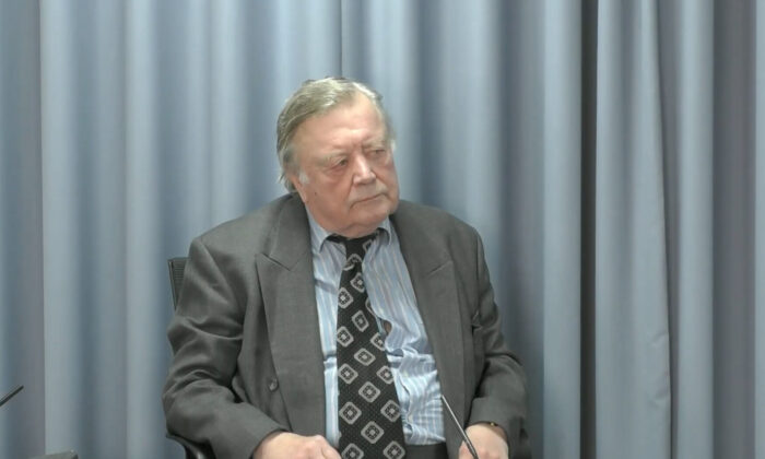 Ken Clarke at the Infected Blood Inquiry at an undiclosed location, on July 27, 2021. (Infected Blood Inquiry/PA)