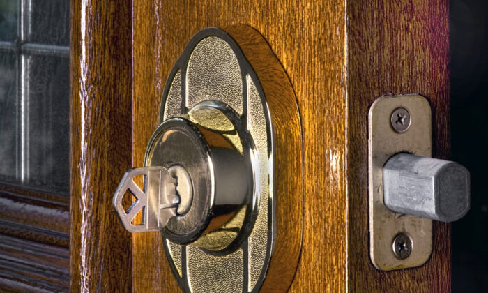 For security reasons, it is important for the deadbolt to extend completely into the doorjamb. This makes it much more difficult for someone to break into your house through the door. (W. Scott McGill/Shutterstock)