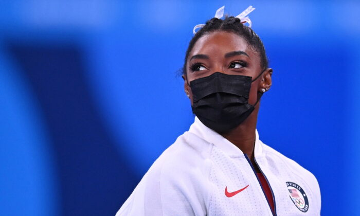 Simone Biles of the United States at the Tokyo Olympics in Tokyo, Japan, on July 27. 2021. (Dylan Martine/Reuters)