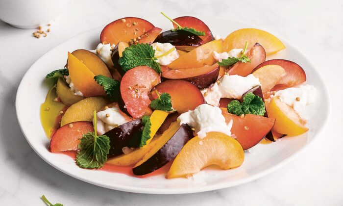 Bright, citrusy lemon balm gives the nectarines and plums in this salad both depth and spirit. (Jennifer McGruther)