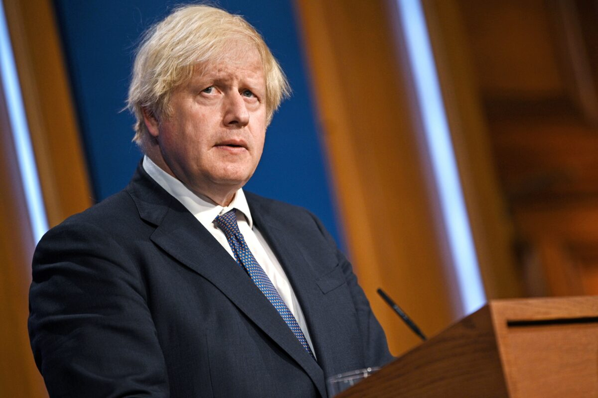 FILE PHOTO: Britain's Prime Minister Boris Johnson holds a news conference in London