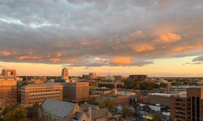 Ann Arbor at sunset from E. Huron Street  in Ann Arbor, Mich., on Oct. 23, 2018.(JuwanGOAT/ Wikimedia commons)