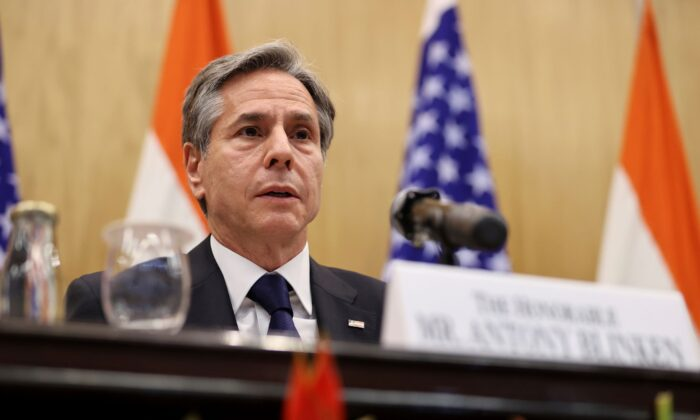 U.S. Secretary of State Antony Blinken speaks during a joint news conference with Indian Foreign Minister Subrahmanyam Jaishankar at Jawaharlal Nehru Bhawan (JNB) in New Delhi, India, on July 28, 2021. (Jonathan Ernst/Pool Photo via AP)