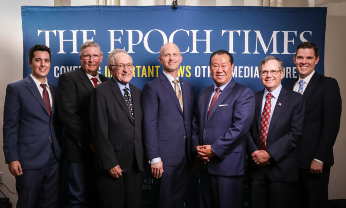 From left to right: Joshua Phillips, Rex Steninger, Alan Dershowitz, Kevin Roberts, Ché Ahn, Rob Natelson, and Timothy Barton at The Epoch Times' Defending the Constitution event in New York City, on July 19, 2021. (Samira Bouaou/The Epoch Times)