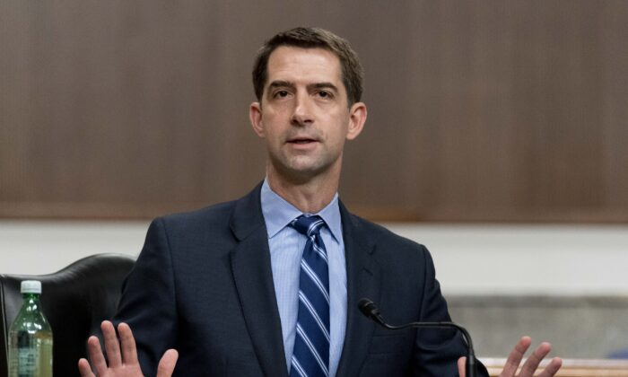 Sen. Tom Cotton (R-Ark.) speaks during a hearing to examine United States Special Operations Command and United States Cyber Command in review of the Defense Authorization Request for fiscal year 2022 and the Future Years Defense Program, on Capitol Hill in Washington, on March 25, 2021. (Andrew Harnik-Pool/Getty Images)