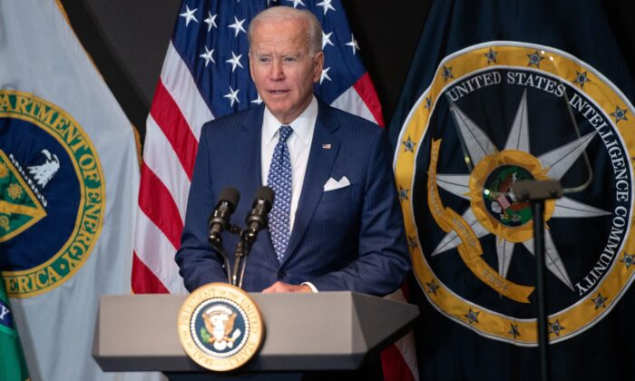 U.S. President Joe Biden addresses the Intelligence Community workforce and its leadership while on a tour at the Office of the Director of National Intelligence in McLean, Va., on July 27, 2021. (Saul Loeb/AFP via Getty Images)