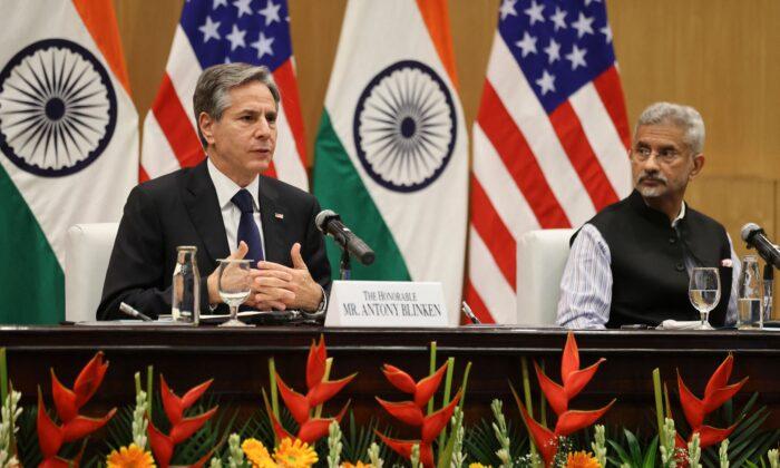 India'sMinisterof ExternalAffairs Subrahmanyam Jaishankar (R) and U.S. Secretary of State Antony Blinken hold a joint news conference at Jawaharlal Nehru Bhawan in New Delhi on July 28, 2021. (Jonathan Ernst/POOL/AFP via Getty Images)