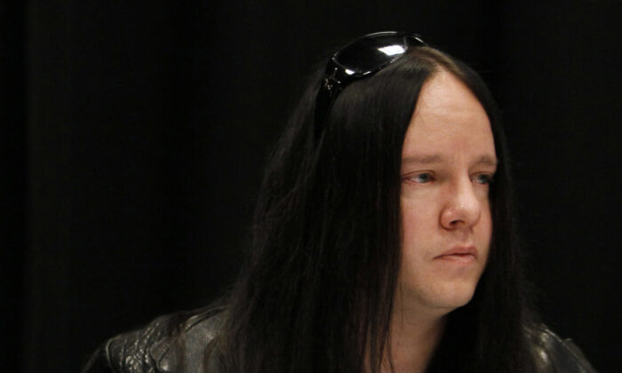Slipknot band member Joey Jordison participates in a news conference about the death of bassist Paul Gray on May 25, 2010, in Des Moines, Iowa. (Charlie Neibergall/AP Photo)