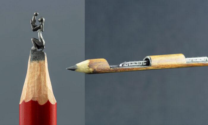 Jasenko Đorđević's miniature pencil lead sculptures.(Courtesy of TOLDart)