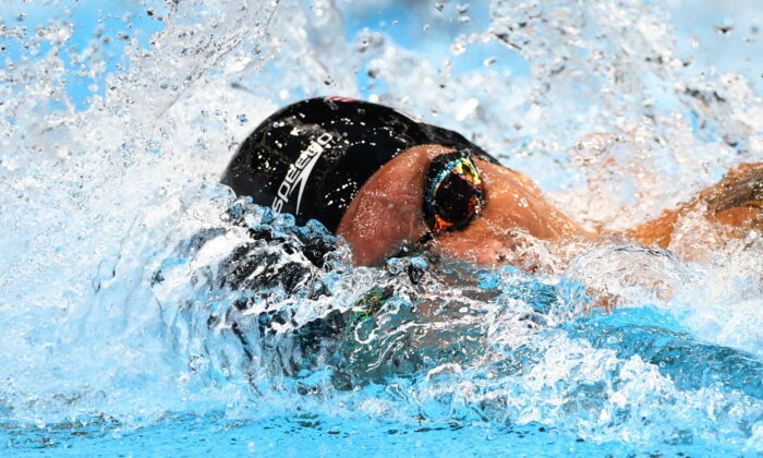 Caeleb Dressel of the United States in action at the Men's 100m Freestyle semifinal at the Tokyo 2020 Olympics at the Tokyo Aquatics Centre in Tokyo, Japan, on July 28, 2021. (Kai Pfaffenbach/Reuters)