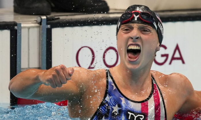 Katie Ledecky, of the United States, reacts after winning the women's 1500-meter freestyle final at the 2020 Summer Olympics in Tokyo, Japan on July 28, 2021. (Matthias Schrader/AP Photo)