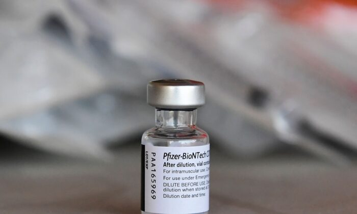 A vial of Pfizer's COVID-19 vaccine is seen in Los Angeles, Calif., on July 9, 2021. (Frederic J. Brown/AFP via Getty Images)