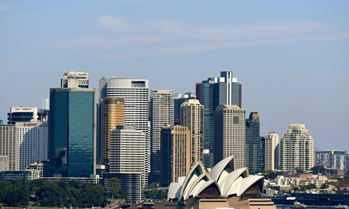 The Sydney Opera House and Central Business District is seen in Sydney, Australia on April 16, 2017. (AAP Image/Sam Mooy)