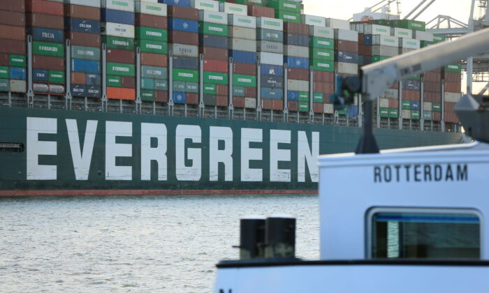 The Ever Given container ship that blocked the Suez Canal in March, docks in Rotterdam, Netherlands, on July 29, 2021. (Eva Plevier/Reuters)