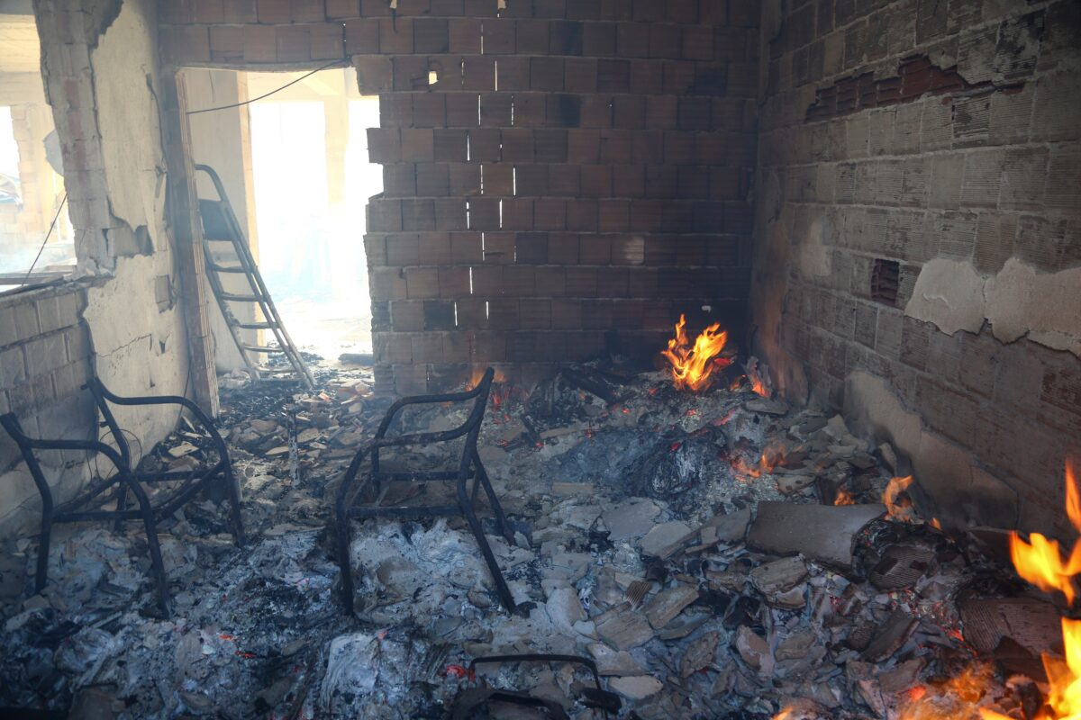 A room of a burnt house