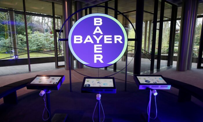 The logo of Bayer AG is seen in a showroom of the German drugmaker where the annual results news conference takes place in Leverkusen, Germany, on Feb. 27, 2020. (Wolfgang Rattay/Reuters)