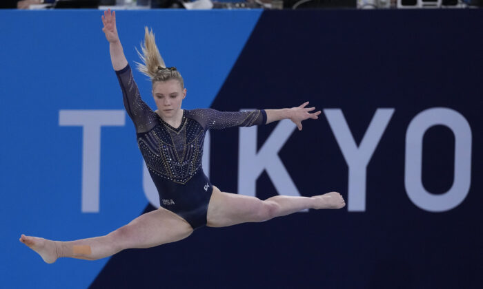 Jade Carey, of the United States, performs on the floor during the artistic gymnastics women's all-around final at the 2020 Summer Olympics in Tokyo, Japan, on July 29, 2021. (Ashley Landis/AP Photo)