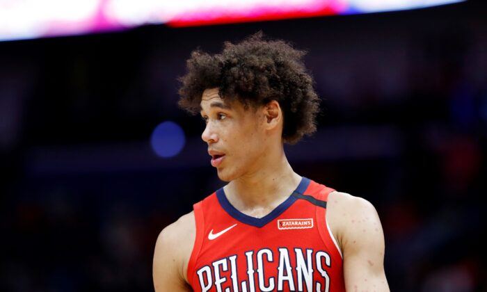 New Orleans Pelicans center Jaxson Hayes looks on during an NBA basketball game in New Orleans, La., on Jan. 6, 2020. (Tyler Kaufman/AP)