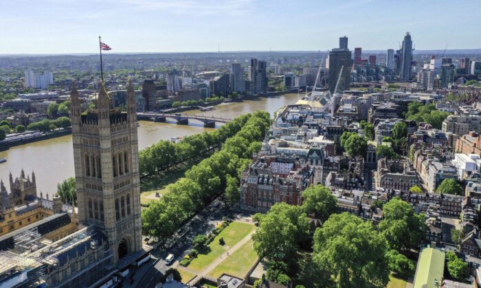 An undated photo showing an aerial view of central London with landmarks including the Victoria Tower at the Palace of Westminster (L) and the Victoria Tower Gardens. (Steve Parsons/PA)