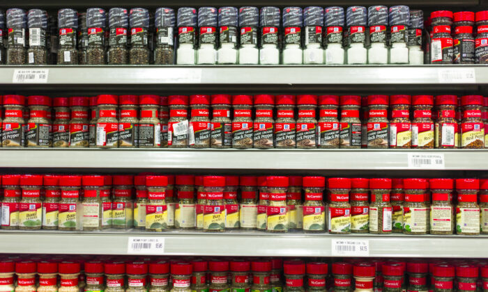 A variety of McCormick spices in the supermarket shelves in Singapore on April 18, 2013. (Tonny Anwar/Dreamstime/TNS)