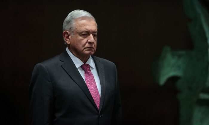President of Mexico Andres Manuel Lopez Obrador looks on during the ceremony to commemorate the third year of Lopez Obrador's victory in the 2018 presidential elections at Palacio Nacional in Mexico City, Mexico on July 01, 2021. (Hector Vivas/Getty Images)