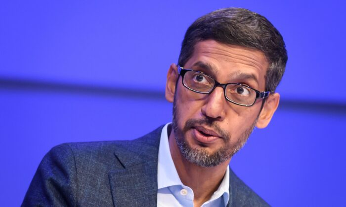 Alphabet CEO Sundar Pichai speaks during a session at the World Economic Forum annual meeting in Davos, Switzerland, on Jan. 22, 2020. (Fabrice Coffrini/AFP via Getty Images)