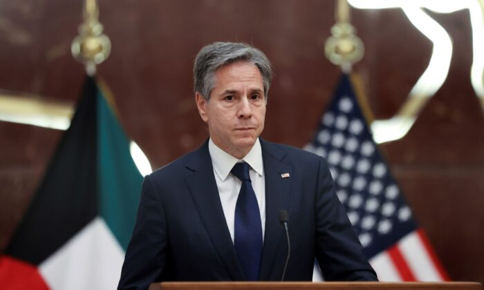 Secretary of State Antony Blinken participates in a news conference at the Ministry of Foreign Affairs in Kuwait City, Kuwait, on July 29, 2021. (Jonathan Ernst/Pool via AP)