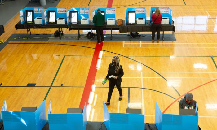 Voters cast ballots at Lucky Shoals Park polling station in Norcross, Ga., on Nov. 3, 2020. (Jessica McGowan/Getty Images)
