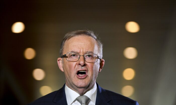 Australian Opposition leader Anthony Albanese speaks to the media during a press conference at Parliament House in Canberra, on July 16, 2021. (Lukas Coch/AAP Image)