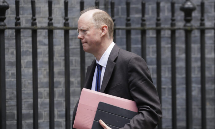 Britain's Chief Medical Officer Chris Whitty arrives at Downing Street in London, on May 1, 2020. (Kirsty Wigglesworth/AP Photo)