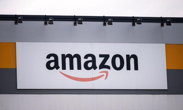 Amazon's logo on the company's premises in Brandizzo, near Turin, on March 22, 2021.(Marco Bertorello/AFP via Getty Images)