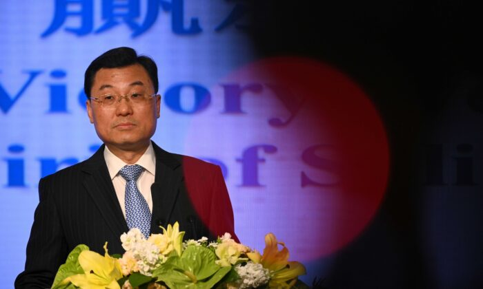 The Commissioner of the Office of the Commissioner of the Ministry of Foreign Affairs of China in the HKSAR, Xie Feng, gives a speech in a press conference in Hong Kong on Feb. 7, 2020. (Philip Fong/AFP via Getty Images)