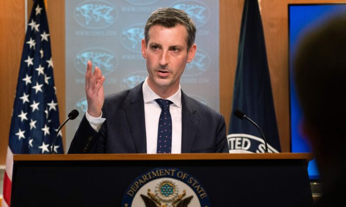 US State Department spokesman Ned Price speaks during a news conference at the State Department in Washington on Feb. 23, 2021. (Manuel Balce Ceneta/POOL/AFP)