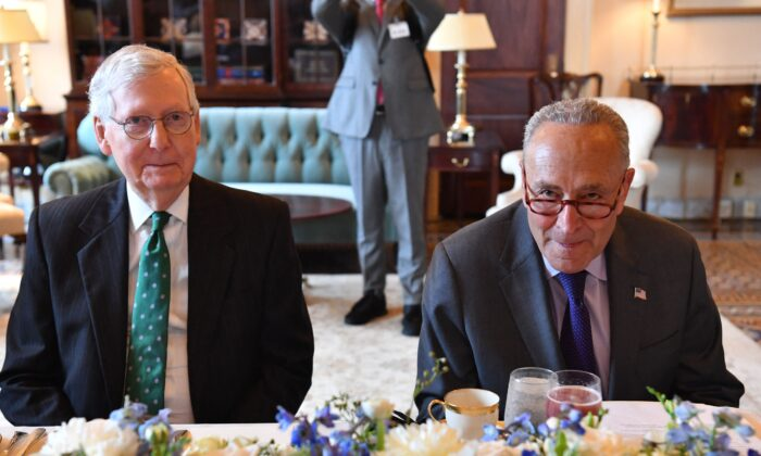 Senate Majority Leader Chuck Schumer (D-N.Y.) and Senate Minority Leader Mitch McConnell (R-K.y.) meet Iraqi Prime Minister Mustafa al-Kadhemi(not shown) during a lunch at the US Capitol in Washington, DC, on July 28, 2021. (Photo by Nicholas Kamm / AFP) (Photo by NICHOLAS KAMM/AFP via Getty Images)