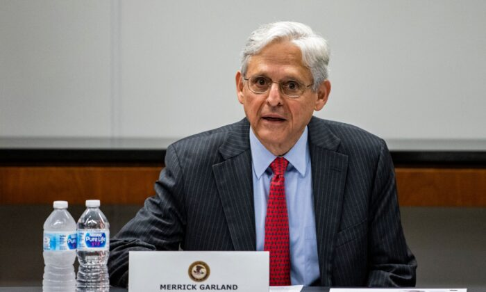 Merrick Garland, U.S. Attorney General, speaks during a meeting with various law enforcement leadership and Illinois-area Strike Force Teams at the U.S. Attorneys Office in Chicago, Ill., on July 23, 2021. (Samuel Corum/Pool/AFP via Getty Images)