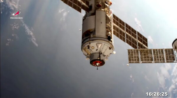 The Nauka (Science) Multipurpose Laboratory Module is seen during its docking to the International Space Station (ISS)