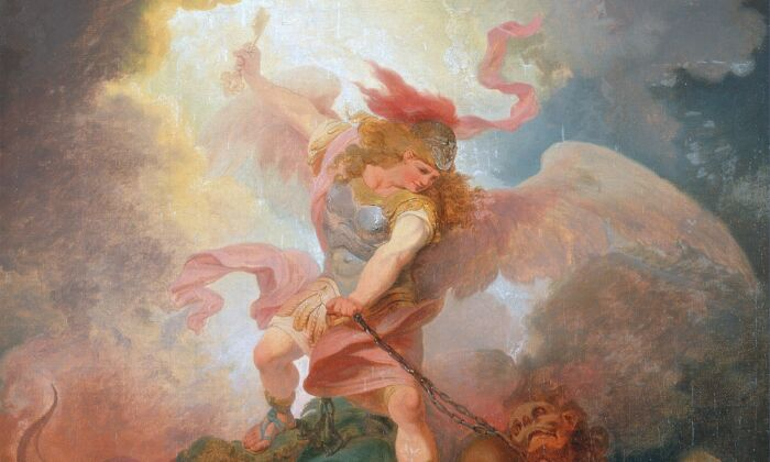 """""""The Angel Binding Satan,"""" circa 1797, by Philip James of Loutherbourg. Oil on Canvas, 17.75 inches by 14.76 inches. Yale Center for British Art, Connecticut. (Public Domain)"""