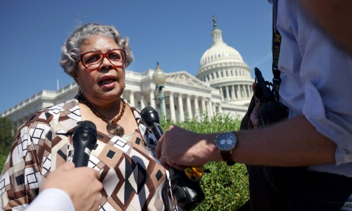 Texas state House Democrat Rep. Senfronia Thompson (TX-141) speaks to members of the media at a news conference on voting rights outside the U.S. Capitol in Washington on July 13, 2021. (Kevin Dietsch/Getty Images)