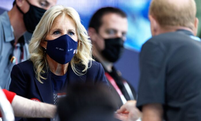 First Lady Jill Biden attends a swimming event during the Tokyo 2020 Olympic Games at the Tokyo Aquatics Centre in Tokyo on July 24, 2021.(Odd Andersen/AFP via Getty Images)