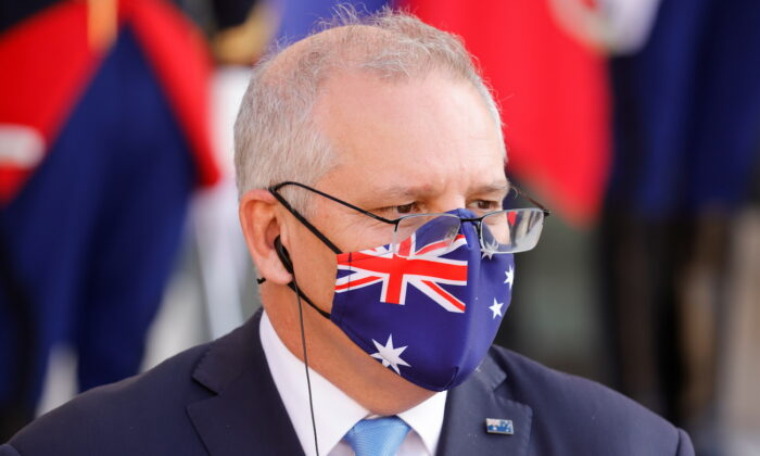Australian Prime Minister Scott Morrison at a news conference in Paris, France, on June 15, 2021. (Pascal Rossignol/Reuters)