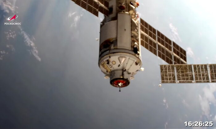 In this still image taken from video, the Nauka (Science) Multipurpose Laboratory Module is seen during its docking to the International Space Station on July 29, 2021. (Roscosmos via Reuters)