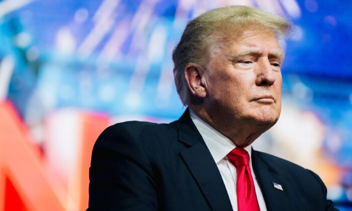 Former President Donald Trump prepares to speak at a conference in Phoenix, Ariz., on July 24, 2021. (Brandon Bell/Getty Images)