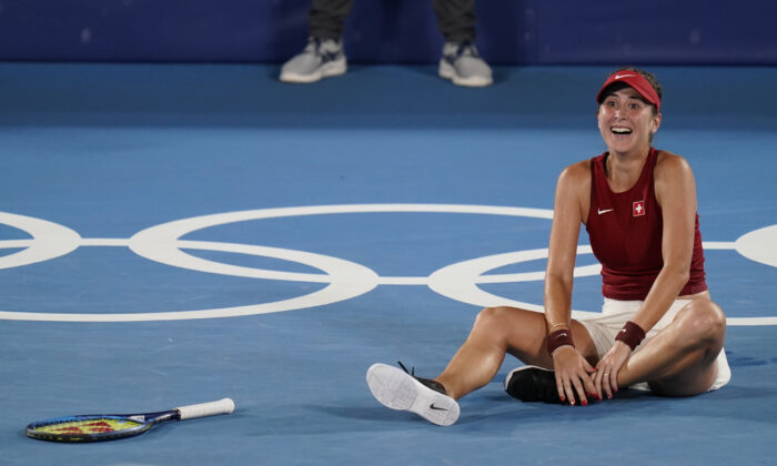 Belinda Bencic, of Switzerland, reacts after defeating Marketa Vondrousova, of the Czech Republic, in the women's gold medal match of the tennis competition at the 2020 Summer Olympics in Tokyo, Japan, on July 31, 2021. (Seth Wenig/AP Photo)