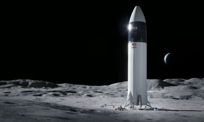 This is an illustration provided by SpaceX shows the SpaceX Starship human lander design that will carry the first NASA astronauts to the surface of the Moon under the Artemis program. (SpaceX/NASA via AP)