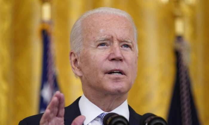 President Joe Biden speaks about COVID-19 vaccine requirements for federal workers in the East Room of the White House in Washington on July 29, 2021. (Susan Walsh/AP Photo)