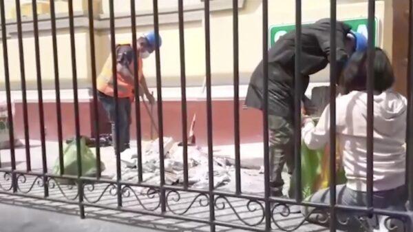 debris from Piura Cathedral facade