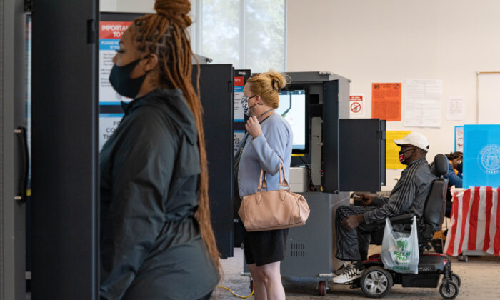 Voters cast their ballots at The Metropolitan Library in Atlanta on Nov. 3, 2020. (Megan Varner/Getty Images)